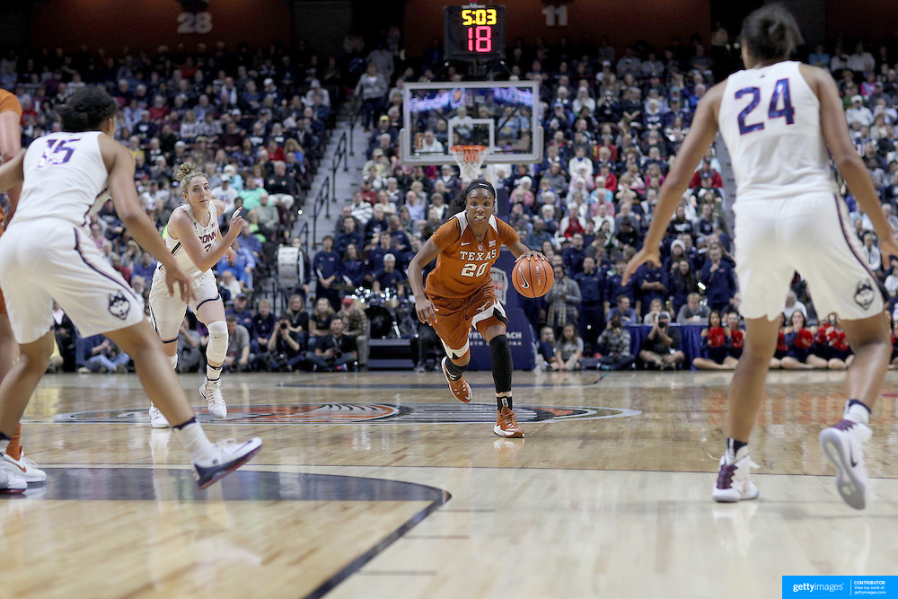 UNCASVILLE, CONNECTICUT- DECEMBER 4: Brianna Taylor #20 of the Texas Longhorns in action during the UConn Huskies Vs Texas Longhorns, NCAA Women's Basketball game in the Jimmy V Classic on December 4th, 2016 at the Mohegan Sun Arena, Uncasville, Connecticut. (Photo by Tim Clayton/Corbis via Getty Images)