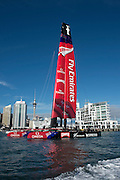 Emirates Team New Zealand tow out to the Hauraki Gulf for day two with the first AC72. . 3/8/2012