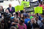 Brooklyn DA Charles Hynes holds a press conference on the steps of Brooklyn Borough Hall in Brooklyn, NY on Tuesday, Oct. 8, 2013.<br /> <br /> CREDIT: Andrew Hinderaker for The Wall Street Journal<br /> SLUG: NYHYNES