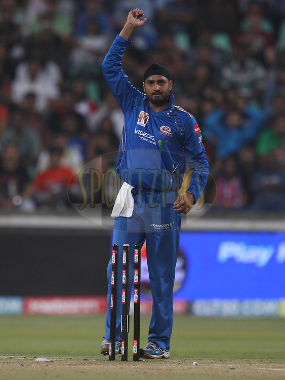 Harbhajan Singh  appeals unsuccessfully for the wicket of Virat Kohli . during match 15 of the Airtel CLT20 between The Mumbai Indians and the Royal Challengers Bangalore held at Kingsmead Stadium in Durban on the 19 September 2010..Photo by: Steve Haag/SPORTZPICS/CLT20.