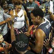 Actor Lamman Rucker of (As the World Turns, Meet the Browns) signs autographs for fans after participating in The 2014 Duffy's Hope Celebrity Basketball Game Saturday, August 2, 2014, at The Bob Carpenter Sports Convocation Center, in Newark, DEL.    <br /> <br /> Proceeds will benefit The Non-Profit Organization Duffy's Hope Youth Programming.