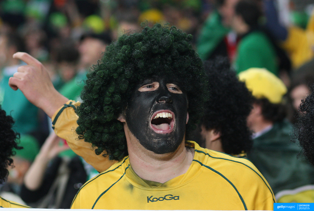 An Australia fan during the Australia V Ireland Pool C match during the IRB Rugby World Cup tournament. Eden Park, Auckland, New Zealand, 17th September 2011. Photo Tim Clayton...