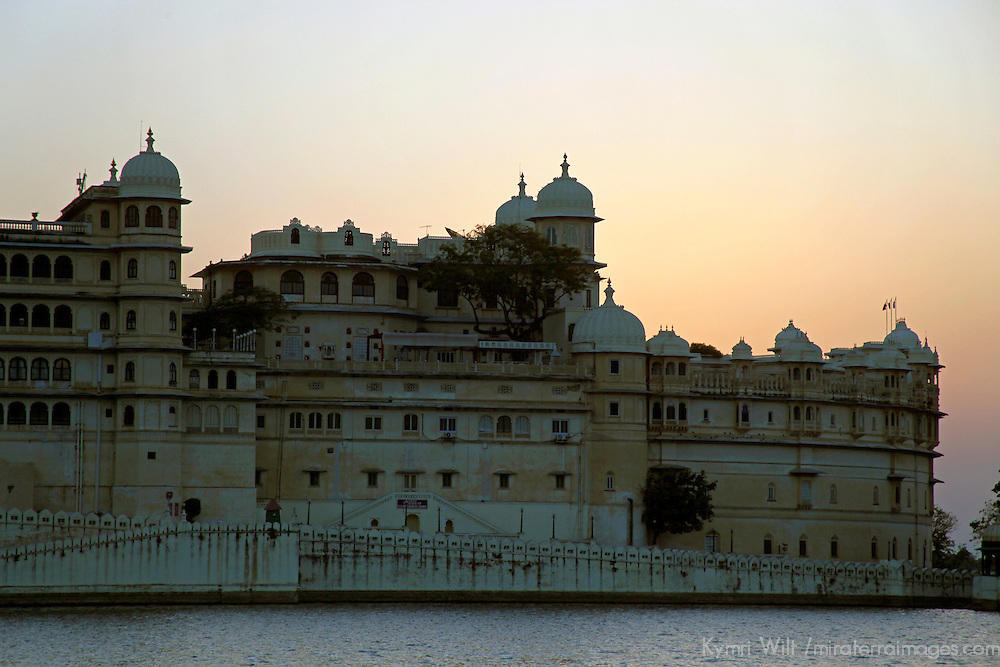 Asia, India, Udaipur. Udaipur City Palace at dusk.