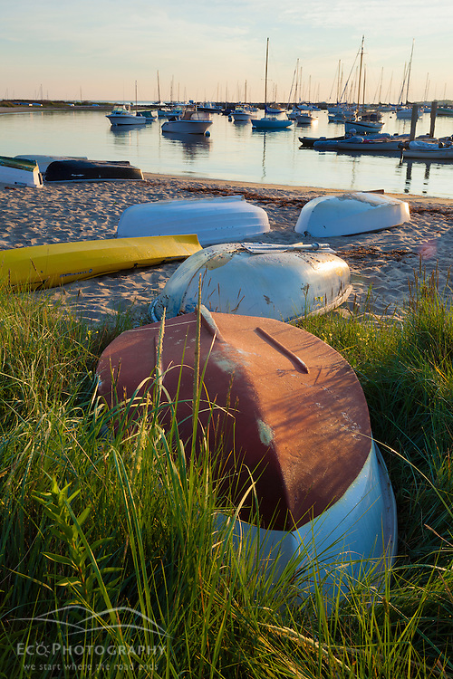 Skiffs on the shore of the harbor in Vineyard Haven on Martha's Vineyard. Massachusetts.