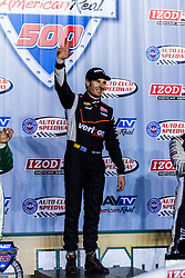 """FONTANA (Oct. 20, 2013) – Will Power scored his third win of the year in Saturday night's MAVTV 500 race at Auto Club Speedway. Will Power crashed last year in this race to blow his own title chances and salvage the night for Penske Racing. """"That is the most satisfying win of my life,"""" said Power, who started on the pole and led a race-high 103 laps. """"I wanted to do it so badly all year. I knew before on the ovals, I was kind of conservative because I just wanted to finish every lap. And this time I went for it."""" Fontana,CA USA. 19th October 2013. Fees must be agreed for image use. Byline, credit, TV usage, web usage or linkback must read: © SILVEXPHOTO.COM."""