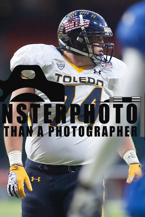 Toledo Rockets NFL prospect Offensive Linemen Senior Mike VanDerMeulen #74 late in the fourth quarter of the 2011 Military Bowl Wednesday, Dec. 28, 2011 at RFK Stadium in Washington DC.