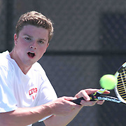 Conrad's Brett Saunders in action during a DIAA Tennis State final match Tuesday, May. 26, 2015 at UD Field House in Newark, DEL