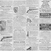Civil War: advertisments for guns, shirts, watches and misc. other items in Harper's Weekly October 3, 1863