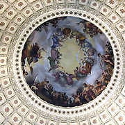 On the canopy, suspended 180 feet above the Rotunda floor, the Italian-American artist Constantino Brumidi painted The Apotheosis of Washington.  It depicts George Washington surrounded by symbols of American democracy and technological progress. Sandy Schaeffer Photography - Washington DC Photographer<br /> Corporate, Capitol Hill, Public Relations, <br /> Association, Portrait, and Commercial Photography.