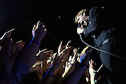 Singer Ricky Wilson of The Kaiser Chiefs performs live on stage at The O2 Arena on February 13, 2015 in London, England.  (Photo by Simone Joyner)