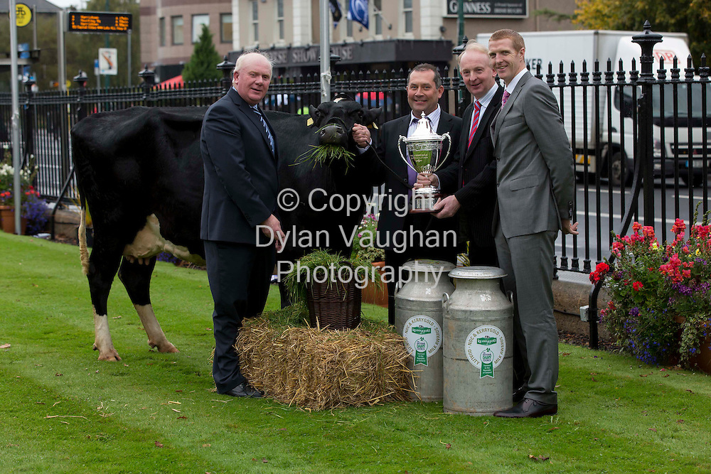 Repro free..11/10/2012..Family Farm Wins Top National Prize.9 Times All-Ireland Winner Presents to 9 National Dairy Finalists. .A family farm from Co. Cavan is our top dairy farm for 2012, winning the national quality milk award programme described as ?The Sam Maguire of.Farming,? which highlights and rewards dairy farming excellence.  . .David & Kathleen Cassidy from Coppenagh, Lisnagar, Cootehill are the overall winners of the 2012 NDC & Kerrygold Quality Milk Awards.  The Cassidy family, who supply milk to Glanbia to make Baileys Irish Cream, were presented with the prestigious perpetual cup and prize of ?5,000  in Dublin's RDS today (11th October, 2012).. .Nine times All-Ireland champion and hurling All-Star Henry Shefflin presented the NDC & Kerrygold Quality Milk Awards to nine dairy farmers short-listed as national finalists, including the overall winners.   Details about the finalists are at www.qualitymilkawards.ie. .Pictured at the NDC & Kerrygold Quality Milk Awards ceremony were (L-R): Jackie Cahill, Chairman, National Dairy Council; winner of the NDC & Kerrygold Quality Milk Awards for 2012 & Top All Year Round Milk Supplier, David Cassidy, Coppenagh, Lisnagar, Cootehill, Co. Cavan; Vincent Buckley, Chairman, Irish Dairy Board and Henry Shefflin..Picture Dylan Vaughan.