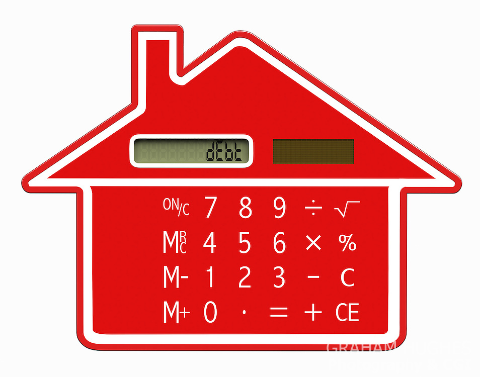 """Red calculator shaped like a house with words""""dEbt"""" on LCD screen."""