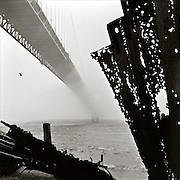 Golden Gate Bridge in fog, ca. 1948