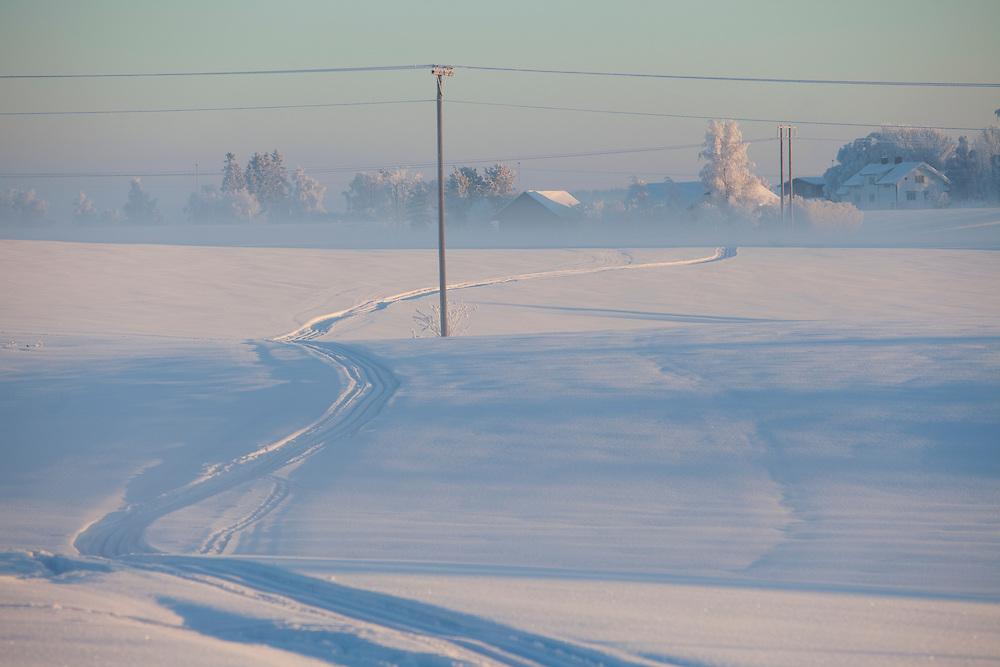 Norway Winter freezing cold snow january sun sunny Stange Norwegian winter.field fields power mast pole ski tracks skiing tracks Norwegian Winterscapes