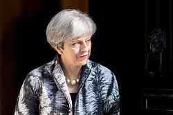 © Licensed to London News Pictures. 20/04/2017. London, UK. British Prime Minister Theresa May leaves 10 Downing street to meet President of the European Parliament Antonio Tajani (not pictured). May triggered Article 50 on 29 March 2017, formally beginning Britain's exit from the EU. Photo credit : Tom Nicholson/LNP