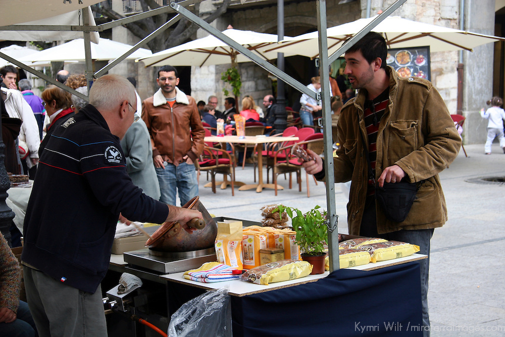 Europe, Spain, Girona. Street vendor of Girona.