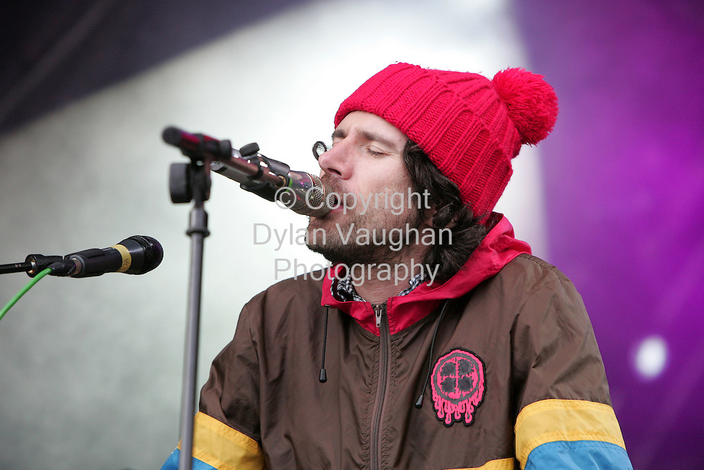 2/9/2006.Gruff Rhys of the Super Furry Animals pictured on stage at the Electric Picnic in Stradbally County Laois..Picture Dylan Vaughan.