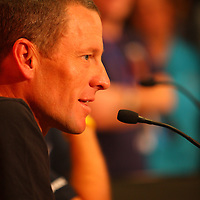 Lance Armstrong - an 7-time Tour de France winner - at a media call on Saturday, January 17, 2009 in Adelaide, South Australia..Armstrong will be riding for Team Astana in his first road race since his retirement 3 years ago. He attended the media conference with his long time friend from Team Discovery and now General Manager of Astana, Johan Bruyneel..