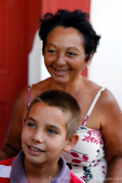 Central America, Cuba, Remedios. Cuban boy and mother in Rememdios.