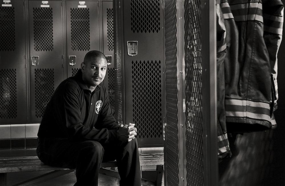 Fireman in lockerroom in fire station 1 in Silver Spring Maryland