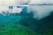 Aerial of tropical rainstorm showig rainshaft at base of cumulonimbus cloud in Guiana Highlands, Amazonas State, Venezuela.