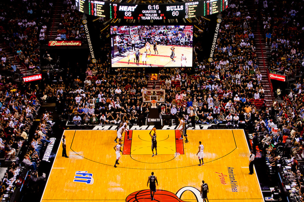MIAMI, FL -- January 29, 2012 -- The Miami Heat and Chicago Bulls battle out a 97-93 Heat win over the Bulls at American Airlines Arena in Miami, Fla., on Sunday, January 29, 2012.  (Chip Litherland for ESPN the Magazine)