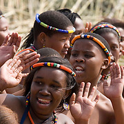Virgin girls in dance for the Zulu king at the Enyokeni Zulu royal palace in Nongoma, KwaZulu Natal, South Africa Sept 9, 2007. Thousands of virgin girls attend the annual Reed Dance at the Enyokeni palace from which the Zulu King Zwelethini may choose a bride. From nrext year, virgin testing or girls under 16 is to be made illegal in a new child protection law.  Photo Greg Marinovich / Bloomberg News