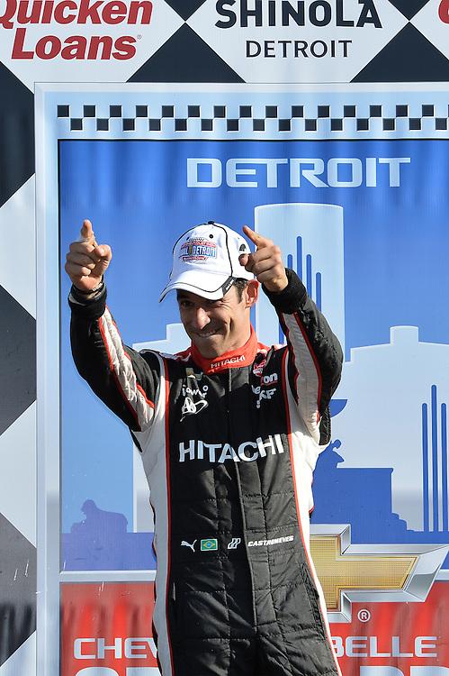 Helio Castroneves wins Duel #2, The Raceway at Belle Isle Park, Detroit, MI USA 6/1/2014