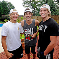 """John Stephen Grice, left to right, Baylor Barnes and Cole LaBrant pose for a photo after an interview in Troy, Ala., Wednesday, July 31, 2013. The trio makes up the group """"Dem White Boyz,"""" which has gained wide popularity on the social networking site """"Vine"""". (Photo/Thomas Graning)"""