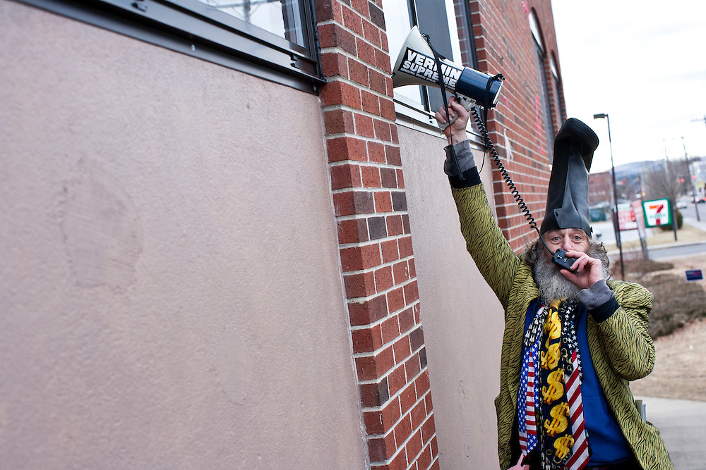 Presidential candidate Vermin Supreme speaks through a bullhorn outside a town hall meeting with Republican presidential candidate Newt Gingrich at Don Quijote restaurant on Sunday, January 8, 2012 in Manchester, NH. Brendan Hoffman for the New York Times