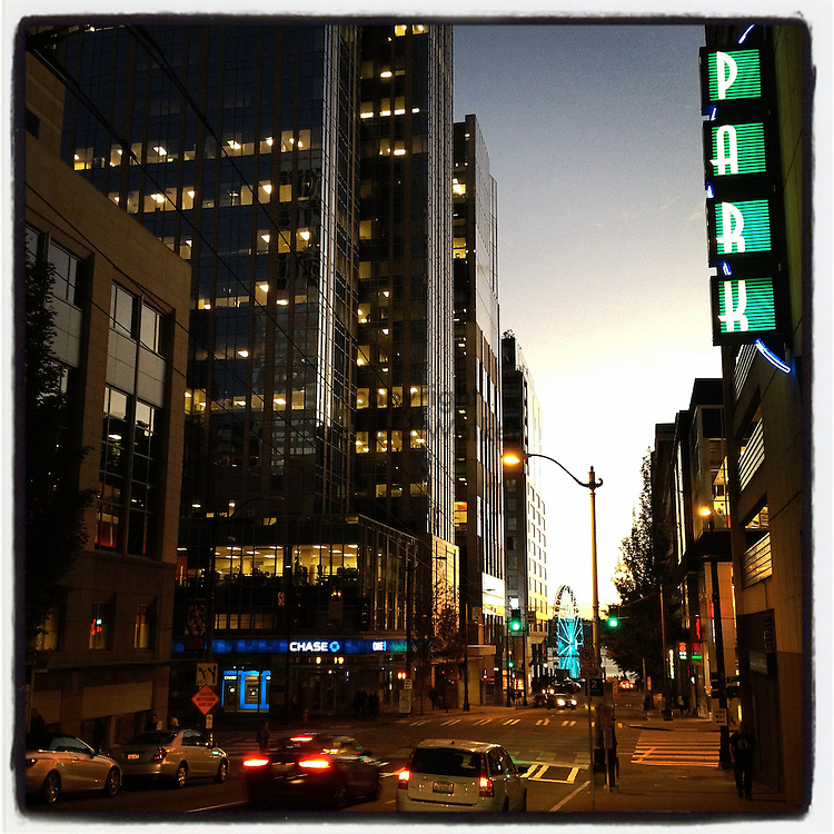 2014 October 06 - Evening view of downtown Seattle, WA, USA. Taken/edited with Instagram App for iPhone. By Richard Walker