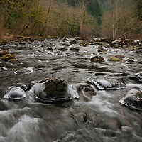 WA10001-00...WASHINGTON - Ice rimed rocks in the South Fork Snoqualmie River near Olallie State Park.