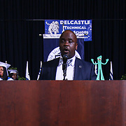 Principal Dr. Clifton Hayes addresses students and audience members during Delcastle Forty-Sixth commencement exercises Tuesday, May 26, 2015, at The Bob Carpenter Sports Convocation Center in Newark, Delaware