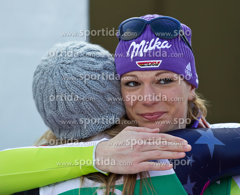 13.02.2011, Kandahar, Garmisch Partenkirchen, GER, FIS Alpin Ski WM 2011, GAP, Damen Abfahrt, im Bild zweite, silber Medaille, Lindsey Vonn (USA) und dritte, bronze Medaille Maria Riesch (GER) // second, siver Medal Lindsey Vonn (USA) with third, bronze Medal Maria Riesch (GER) during womens Downhill, Fis Alpine Ski World Championships in Garmisch Partenkirchen, Germany on 13/2/2011, 2011, EXPA Pictures © 2011, PhotoCredit: EXPA/ J. Feichter