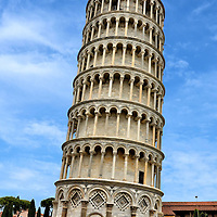 Leaning Tower of Pisa in Pisa, Italy<br /> It took almost two hundred years to construct the white marble Tower of Pisa.  It started leaning soon after construction began in 1173.  In an attempt to compensate, the upper floors were built so one side is taller than the other.  Nearly three hundred steps lead to the top. The finished bell tower stands about 186 feet at the peak and leans over 12 feet.