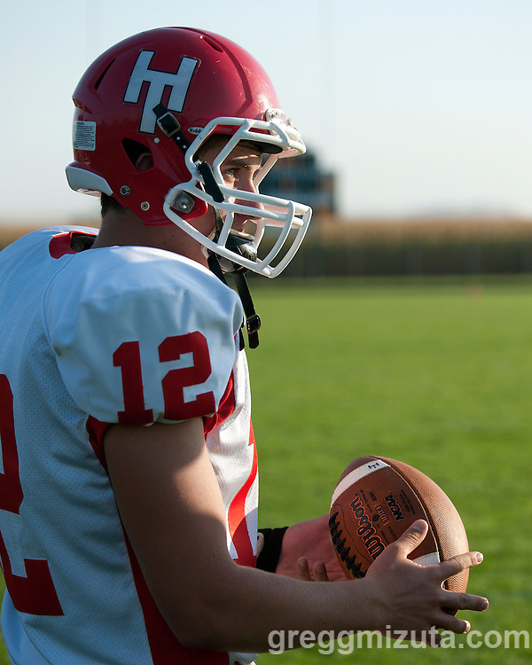 Homedale senior Lawsen Matteson before the start of the Vale - Homedale football game, September 12, 2014 at Frank Hawley Stadium, Vale High School, Vale, Oregon. Vale won 33-20 to improve their record to 2-0.