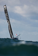 The Vendee Globe 2016. Les Sables d'Olonne. France<br /> British yachtsman Alex Thomson, skipper of the Hugo Boss IMOCA Open60 race yacht. Shown here in action during the start of the solo non stop around the world yacht race. <br /> Credit - Lloyd Images