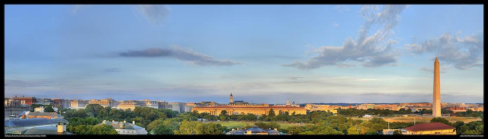Panoramic View of Washington, DC.  Includes The Capitol, Washington Monument, Smithsonian Mall, The White House, among other Washington, DC landmarks and Washington, DC Monuments..Print Sizes (inces): 15x4.5; 24x7; 36x10.5; 48x14; 60x17; 72x21