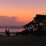 Peter Iredale Shipwreck Silhouette - Dusk - Oregon Coast