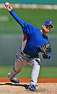 Chicago Cub Ryan Dempster pitches in a Spring Training game against the Kansas City Royals on March 9, 2008..  Cubs won, 13 to 1.