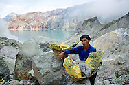 The workers at Mt Ijen carry up to 90kg loads of sulfur out of the volcano up to 20 times a day.