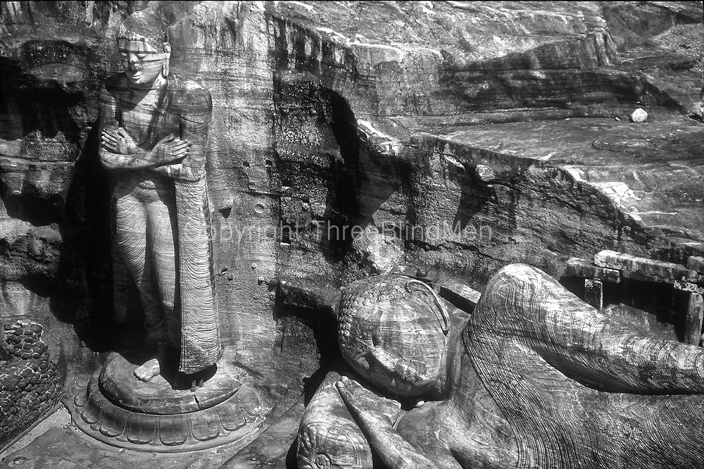 The Gal Vihara (Stone Temple) at Polonnaruwa, one of the cities in the Cultural Triangle of Sri Lanka. The other two cities are Kandy &amp; Anuradhapura.<br />