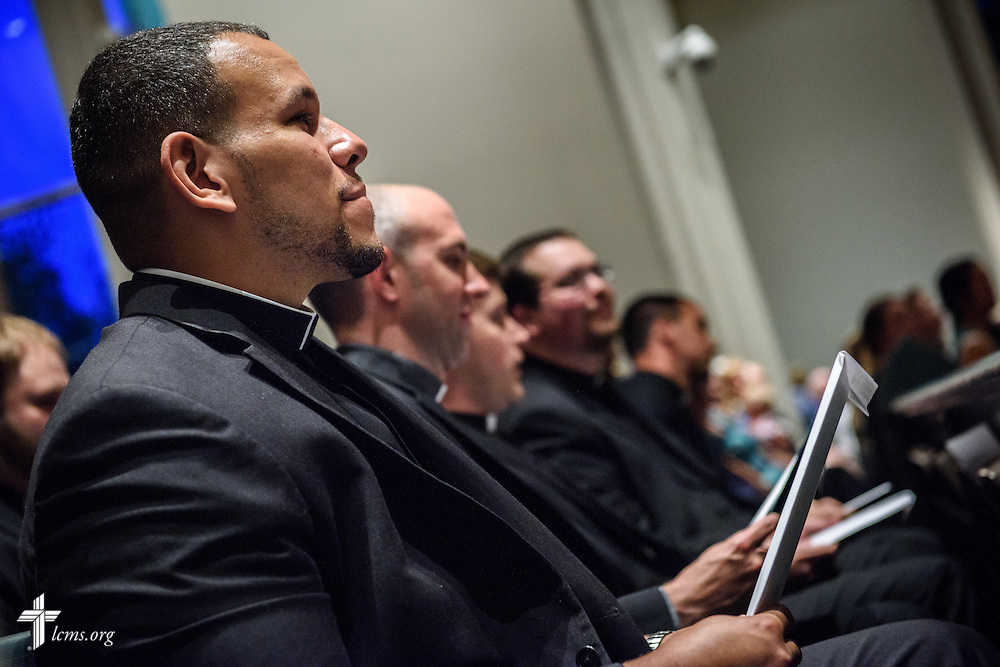 Micah Glenn, a fourth-year Master of Divinity student at Concordia Seminary, St. Louis and new national missionary to Ferguson, receives his call Tuesday evening, April 26, 2016, during 'call day' in the Chapel of St. Timothy and St. Titus at Concordia Seminary, St. Louis. LCMS Communications/Erik M. Lunsford