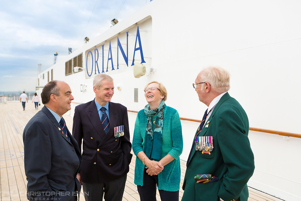 Members of the Falklands Hospital Ship Reunion Group gather onboard P&amp;O Cruises' Oriana in Southampton today, 35 years after the start of the conflict in the South Atlantic. Left to right: Steve Moutrey who was operating theatre staff, Mark Trasler who was a Chief Petty Officer Medical Technician, Maggie Freer who was Head Naval Nurse on the Uganda and Robert &quot;Ossie&quot; Osborn, formerly of the 2nd Battalion Scots Guards. 50 former soldiers, sailors and nurses will spend the next four days cruising aboard Oriana to the Channel Islands.<br /> Picture date Thursday 11th May, 2017.<br /> Picture by Christopher Ison. Contact +447544 044177 chris@christopherison.com