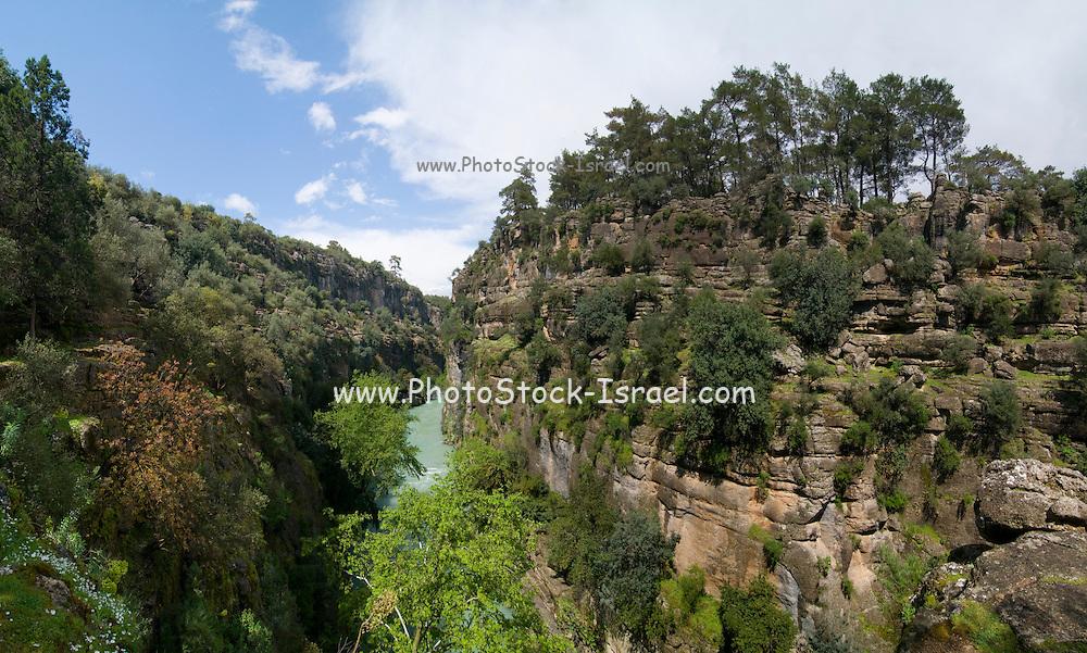 Turkey, Antalya, Stitched Panorama of the Koprulu River Canyon