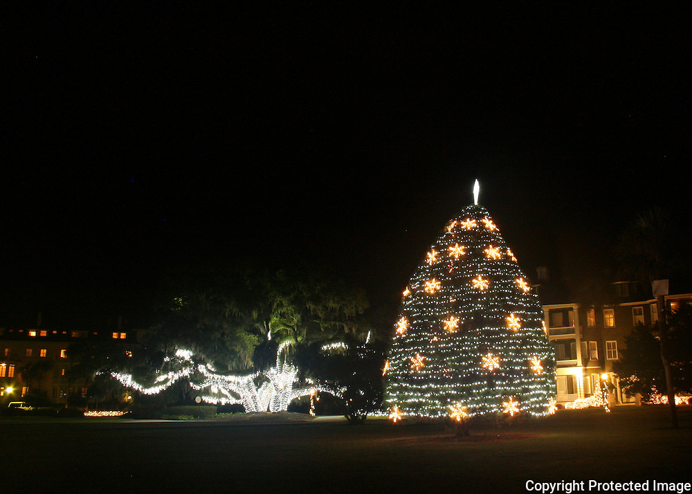 The Christmas tree, at the Historic District of Jekyll Island and a decorated giant oak tree.