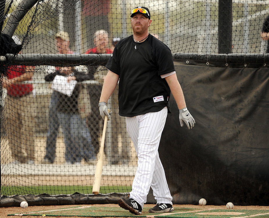 GLENDALE, AZ - FEBRUARY 26:  Adam Dunn #32 of the Chicago White Sox takes batting practice during a spring training workout on February 26, 2011 at Camelback Ranch in Glendale, Arizona. (Photo by Ron Vesely)