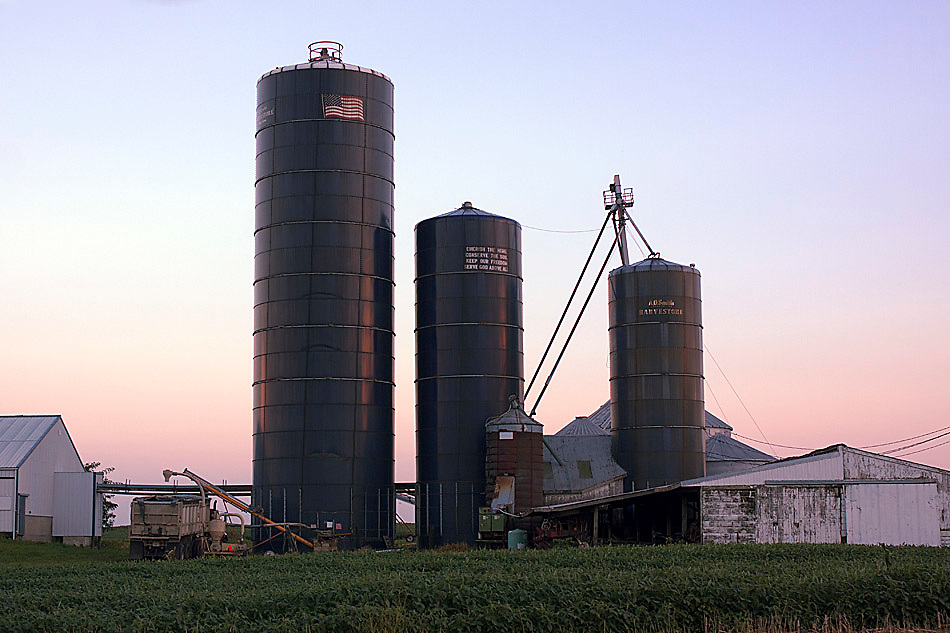 Conserve the Soil, Edelstein, IL. <br /> <br /> Inscription on the middle silo reads: Cherish the Home, Conserve the Soil, Keep Our Freedom, Serve God Above All