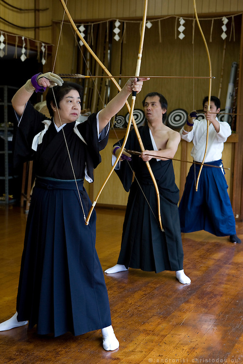 Trainning in Kyudo (archers) at the branch of the Ogasawara school in Saitama