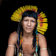 Kawali Aweresese, an Enawene Nawe tribe member whose lands and traditions are threatened by a project of 86 dams to be constructed on the Juruena river basin. Near Juina, Mato Grosso State, Brazil, March, 2009.
